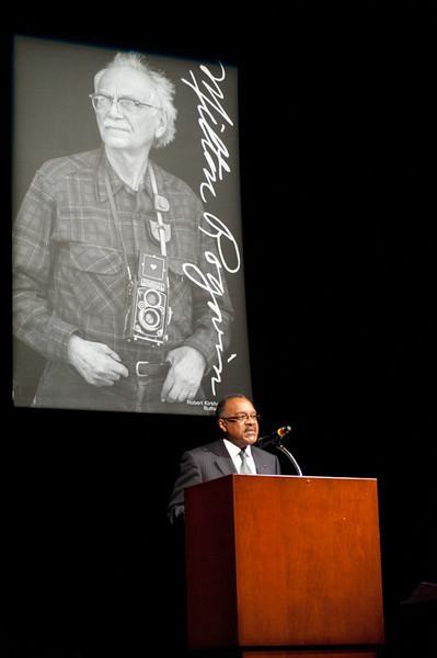 Memorial service for Buffalo photographer Milton Rogovin held in Upton Hall.