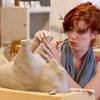 Buffalo State College Ceramics students assembling buffalo sculptures for fund-raiser.
