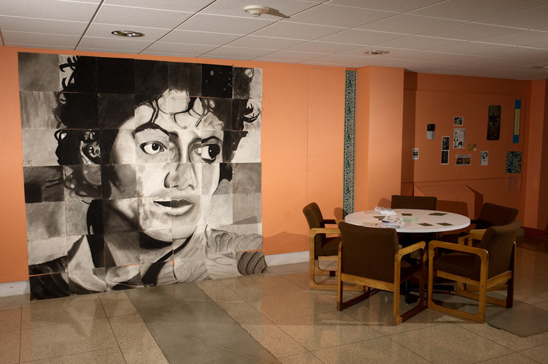 Michael Jackson mural created by incoming Fine Arts Freshman during Week of Welcome.