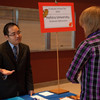 Students attending  graduate school fair.
