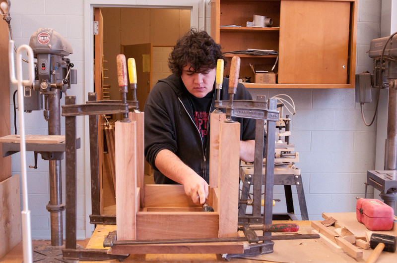 Students and faculty working in Upton Hall Design studios at end of Fall Semester.