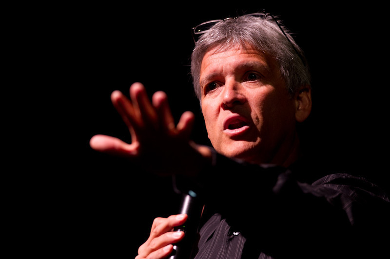 Author and social justice advocate  Carl Wilkens addressing the 2011 Anne Frank Project.