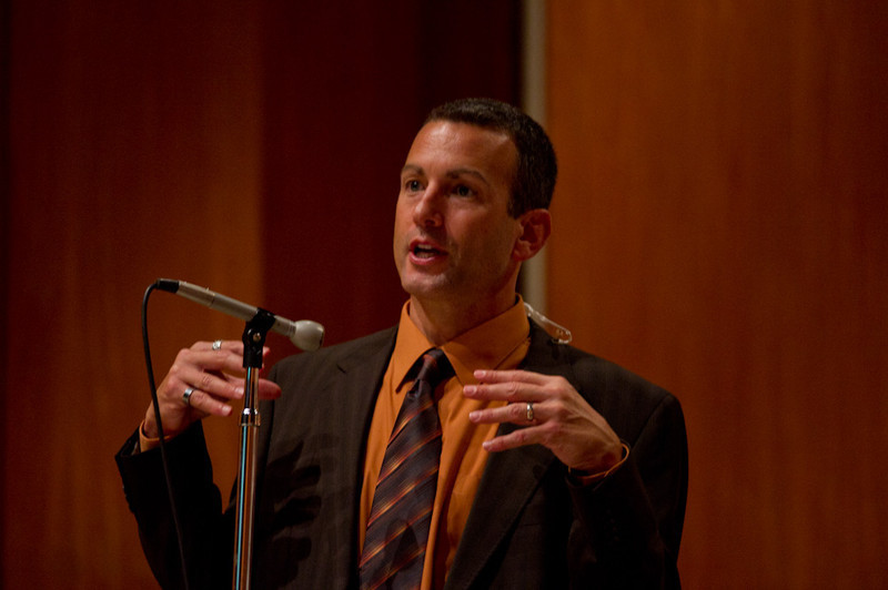 Professor Drew Kahn addressing the 2011 Anne Frank Project.