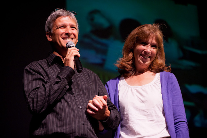 Author Carl Wilkens and his wife, Teresa  addressing the 2011 Anne Frank Project.