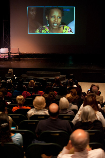 Hope Azeda speaking to the 2011 Anne Frank Project at Buffalo State College from Kigali, Rwanda.