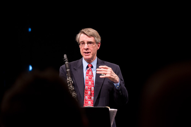 Professor David Landrey and Dean Ben Christy performing clarinet and poetry during the 2011 Anne Frank Project.