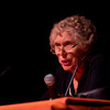 Holocaust survivor and social justice advocate Sophia Veffer speaking at the 2011 Anne Frank Project at Buffalo State College.