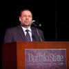 President Aaron Podolefsky addressing the 2011 Anne Frank Project.