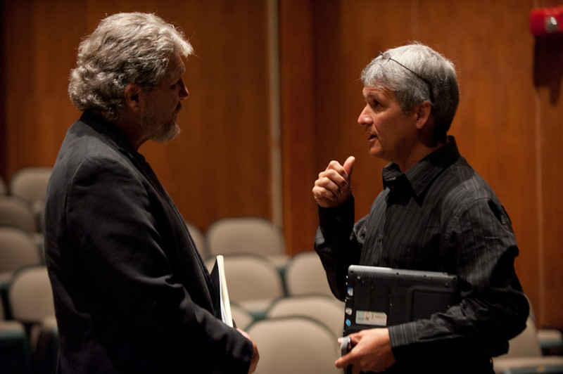 Gary Wolfe and Carl Wilkens in conversation during the 2011 Anne Frank Project.
