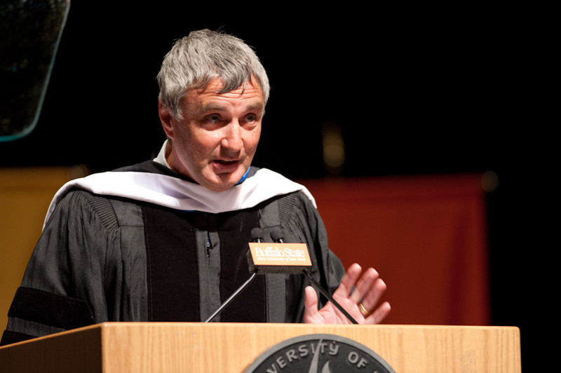 Music industry executive and Buffalo State alumnus, Steve Ralbovsky speaking at 2011 Academic Convocation in Rockwell Hall.