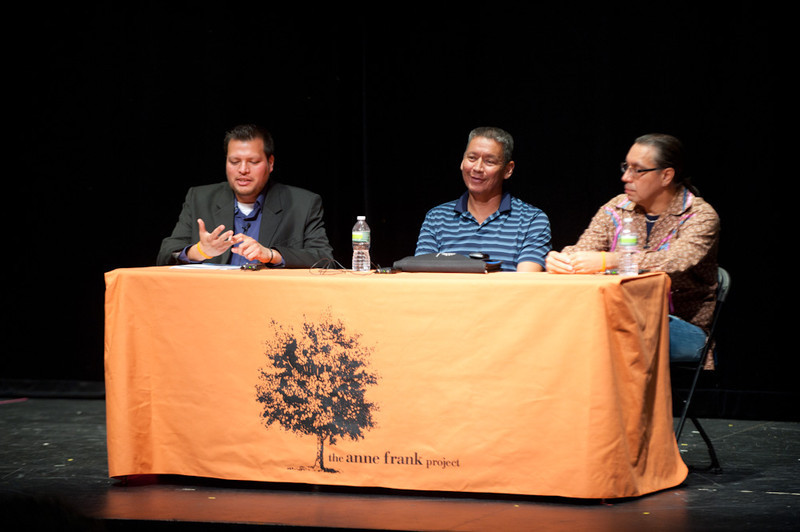 Panel discussion with Michael Martin, Ruchatneet Printup, and Peter Hill of the Native American Community Service of Erie and Niagara Counties.