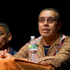 Ruchatneet Printup of the Native American Community Service of Erie and Niagara Counties speaks during the 2011 Anne Frank Project.