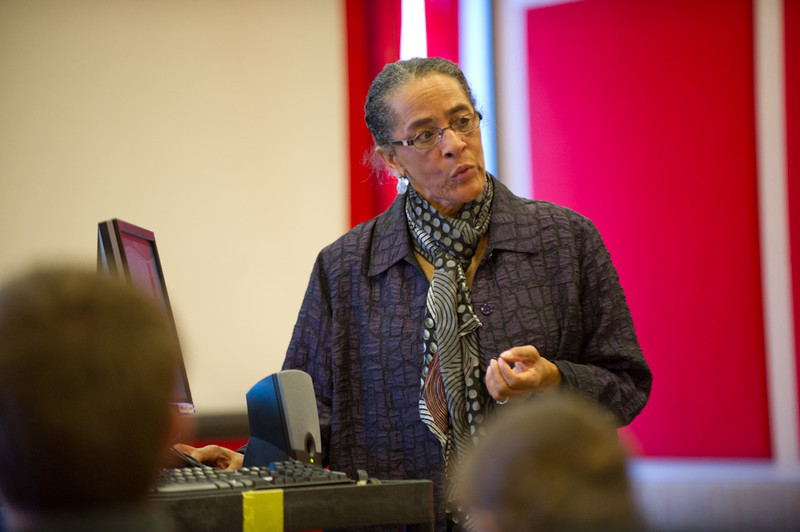 Dr. Delores Battle speaking at the 2011 Anne Frank Project.