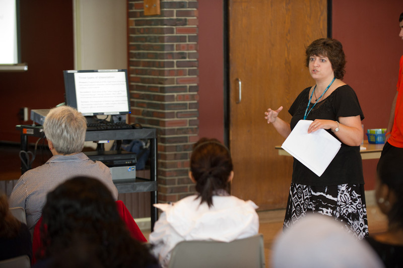 Professor Janice Carello speaking at the 2011 Anne Frank Project.