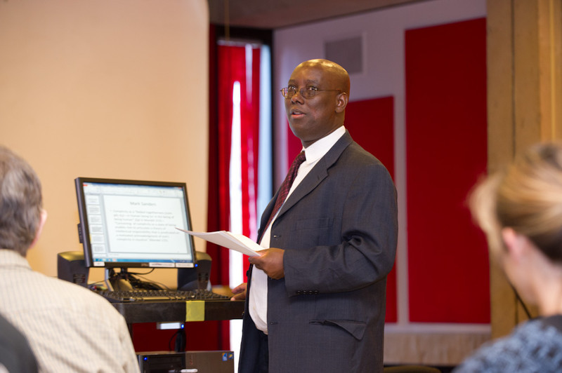 Professor Aimable Twagilimana speaking during the 2011 Anne Frank Project.