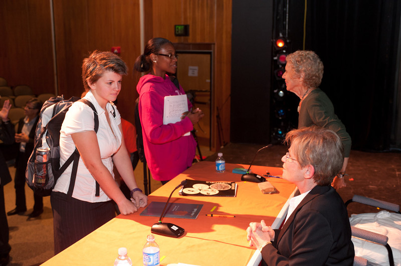 Social justice lawyer Ronnie Podolefsky and Holocaust survivor and social justice advocate Sophia Veffer speaking with students at the 2011 Anne Frank Project.