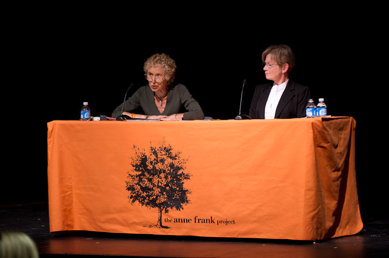 Social justice lawyer Ronnie Podolefsky and Holocaust survivor and social justice advocate Sophia Veffer speaking at the 2011 Anne Frank Project.