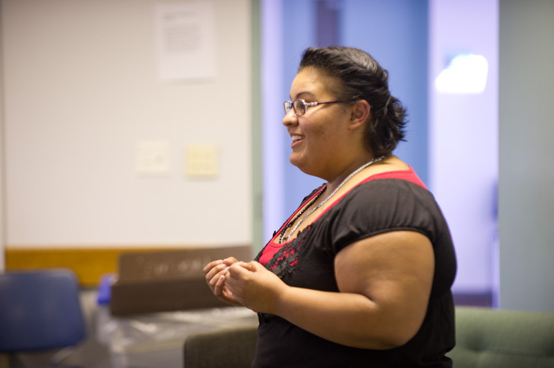 Theater alumna Jennifer Arroyo speaking at the 2011 Anne Frank Project.