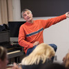 Music executive and Buffalo State Alumni Steve Ralbovsky speaking to Professor Chuck Mancuso's music class.