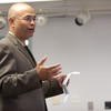 Buffalo State basketball coach Fajri Ansari speaks on core values of Islam during the 2011 Anne Frank Project.