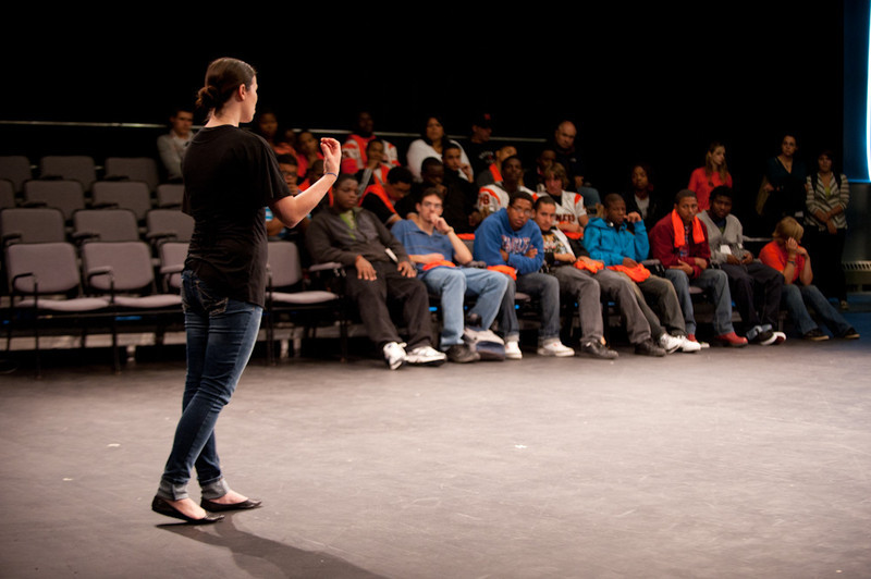 Buffalo State student Tara Hark speaks during the 2011 Anne Frank Project.