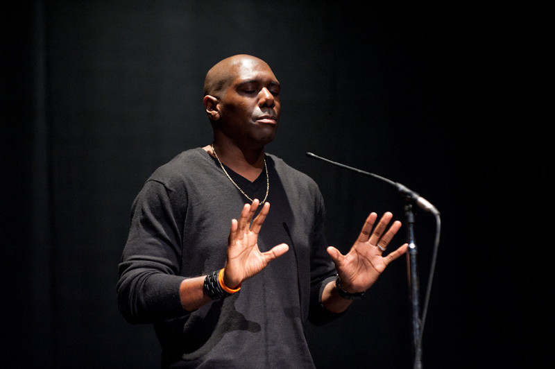 Ntare Ali Gault of the Njozi Poets performs at the 2011 Anne Frank Project at Buffalo State College.