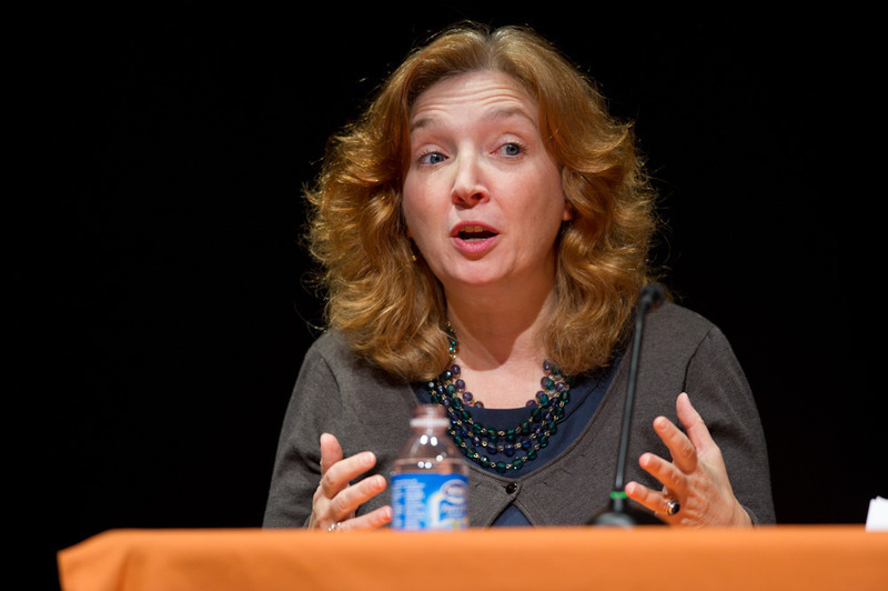 Professor Michele Ninacs speaks at the 2011 Anne Frank Project at Buffalo State College.