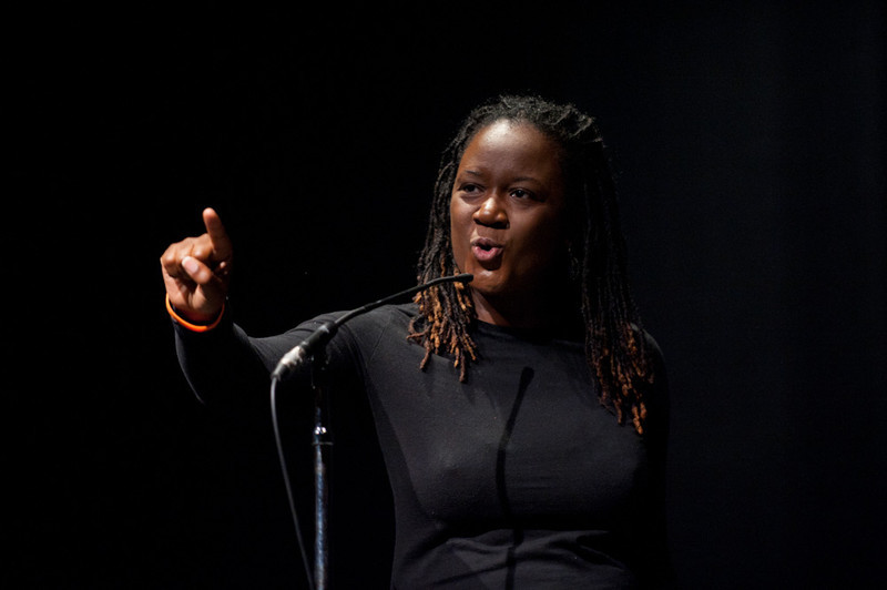 Erika Haygood of the Njozi Poets performs at the 2011 Anne Frank Project at Buffalo State College.