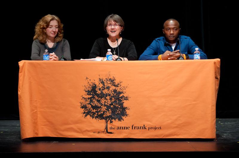 Victor Habinshuti, Deborah Renzi and Michele Ninacs speak at the 2011 Anne Frank Project at Buffalo State College.