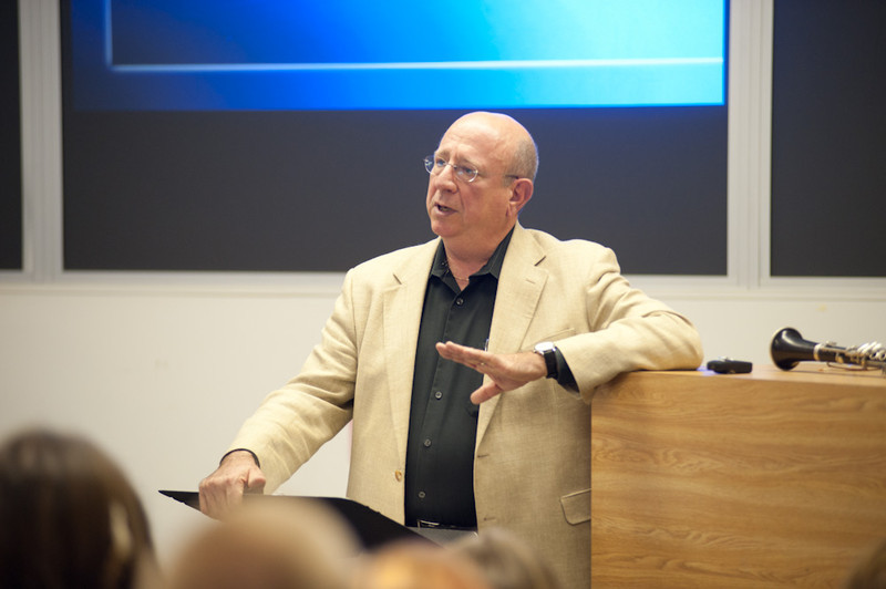 Dr. Ramon Ricker of the Eastman School of Music guest lecturing on the Business of Music in the Music Forum lecture series.