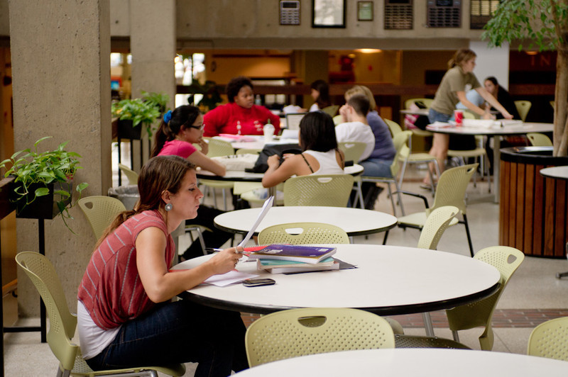 Students studying in Butler Library.
