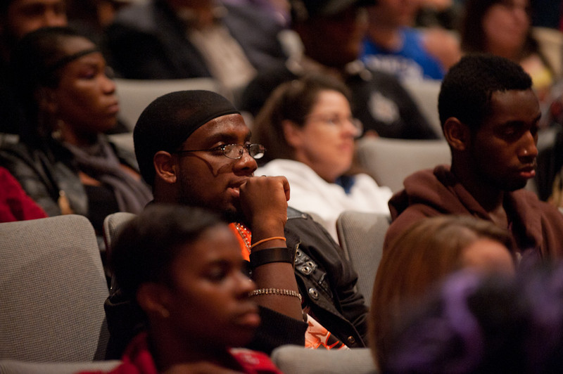 Question and answer session during movie director Spike Lee's talk at Rockwell Hall.