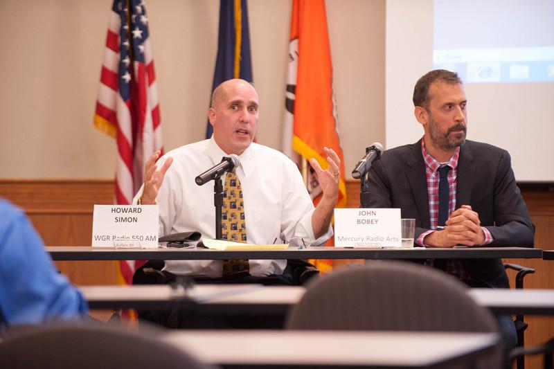 Panel discussion with WBNY student radio alumni during WBNY alumni reunion.