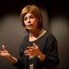 Buffalo Philharmonic Conductor JoAnn Falletta speaking to Music Forum class at Buffalo State.