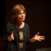 Buffalo Philharmonic Conductor JoAnn Falletta speaking to Music Forum class at Buffalo State.