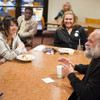 Author and social activist Victor Villanueva talking with Buffalo State students during lunch.