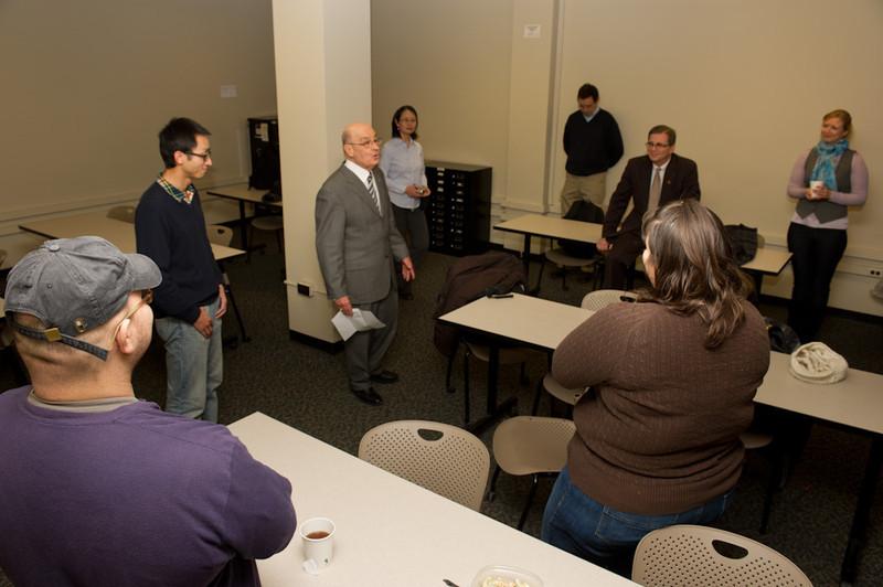 Presentation of International Graduate Student Scholarship by Dean Kevin Railey.