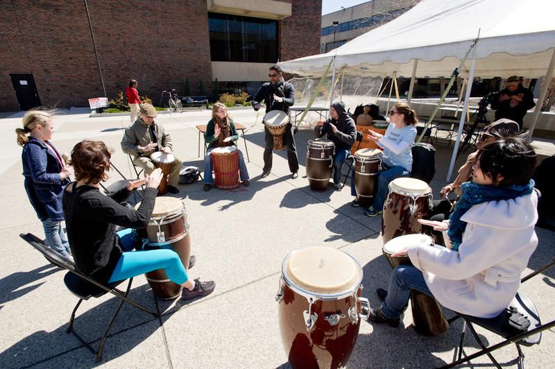 Drumming circle during Mental Health Awareness Week activities.