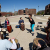 Drumming circle during Mental Health Awareness Week activities.