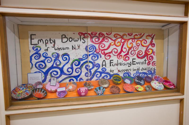 Student artwork displays for NASAD accreditation visit.