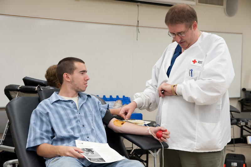Red Cross campus blood drive.