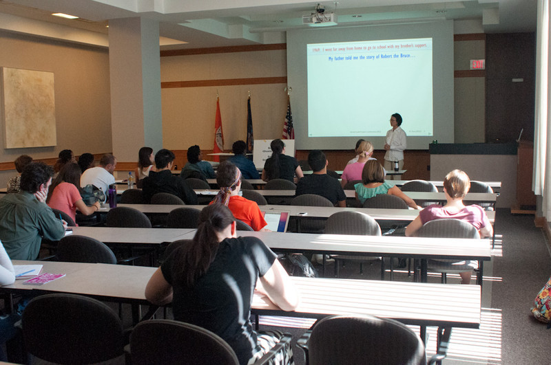 """""""Teacher Holocaust in China"""" presentation by Ruth Guo during the Anne Frank Project at Buffalo State."""