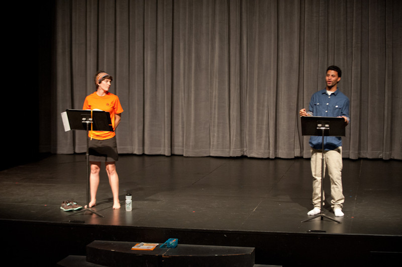 """Courage to Act"" presentation by Eve Everette and Louis Sepulveda during the Anne Frank Project at Buffalo State."