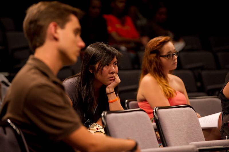 Audience listening to Ronnie Podolefsky speaking at the Anne Frank Project at Buffalo State.