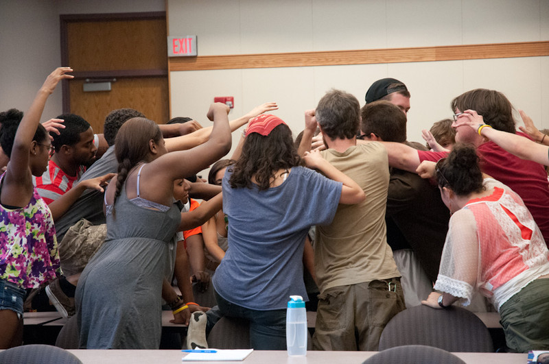 """""""Unarmed"""" presentation by James Wagelin and Derrick Sherrier during the Anne Frank Project at Buffalo State."""