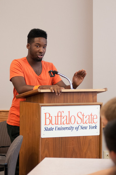 """Unarmed"" presentation by James Wagelin and Derrick Sherrier during the Anne Frank Project at Buffalo State."
