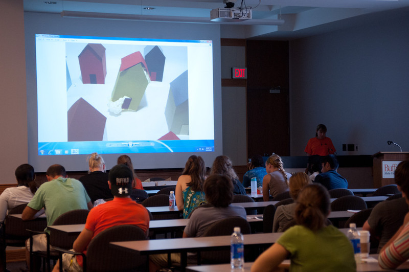 """Creative Expression"" art therapy presentation by Kate Hartman during the Anne Frank Project at Buffalo State."