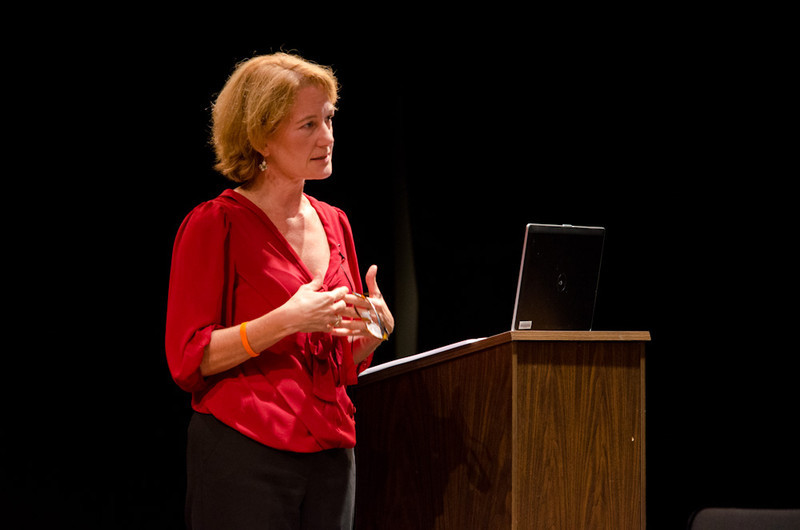 Eva Hassett speaking at the Anne Frank Project at Buffalo State.