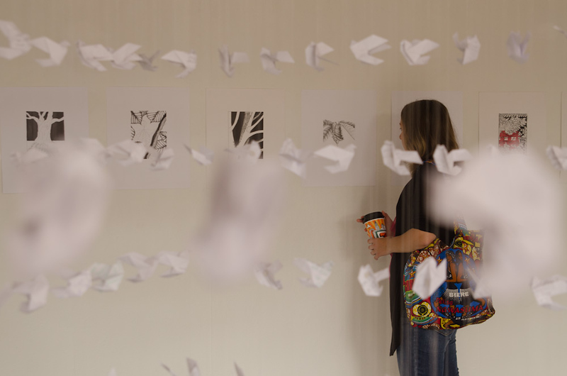 Art installation by artist Ben Perone during the Anne Frank Project at Buffalo State.