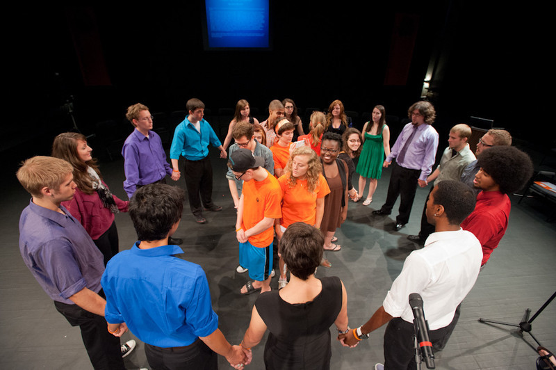 """Ohio State a capella group """"Dynamic Contrast"""" performing during the Anne Frank Project at Buffalo State."""